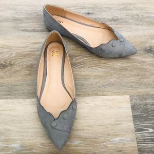 JGoods | Gray Pointed Flat Shoes